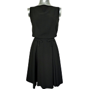 Vintage 1950s Black Inverted Pleat/Draped Back Day Dress