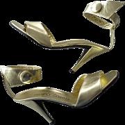 Amazing Vintage 1970s Gold Leather Stiletto Sandals by Charles Jourdan UNWORN