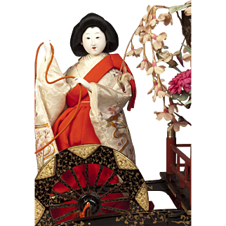 Japanese Hanagaruma Bijin Doll Lady with Large Flower Cart