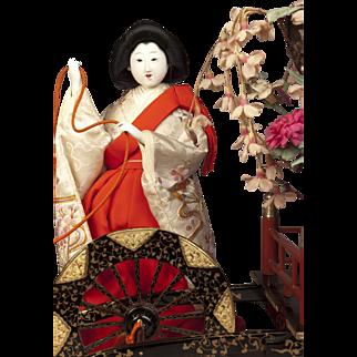 Japanese Hanagaruma Bijin Doll Lady with Large Flower Cart