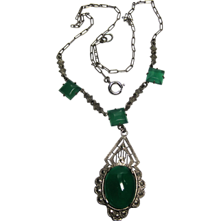 Vintage Art Deco Sterling Marcasite Chrysoprase Necklace