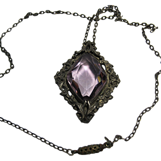 1930s vintage Czech Amethyst Necklace Czechoslovakia Brass Glass