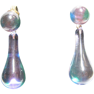 early vintage Pastel Lucite Drop Earrings iridescent Hippie