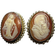 two 800 silver Carved Shell Cameo pin brooch Madonna Mother and Child pendant