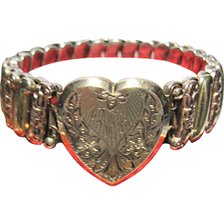 1920-30 Sterling gold filled Carmen Lustern Expansion Bracelet Sweetheart Locket w/ box