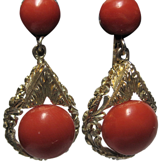 Stunning Art Deco 800 silver gilt Deep Red Coral Bead Earrings