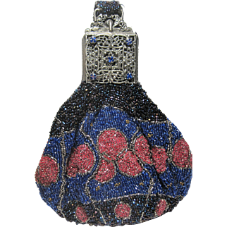 amazing antique micro bead swag or wrist purse Carnival Cobalt and Rose beads Jeweled top bag