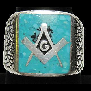 vintage Sterling and crushed Turquoise MASONIC Mason Ring Men's