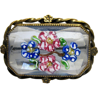 1920s Italian Millefiori canes Art Glass Brooch