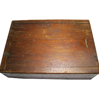 19th c Wood Candle Box Sliding Lid storage wooden