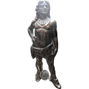 rare Chief Oshkosh Luggage Store Counter Advertising metal Indian Statue 1920 enamel