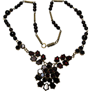 vintage signed Czech Czechoslovakia Bohemian Garnet Necklace garnets