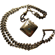 Antique rose gold filled locket and bookchain book chain opal garnet