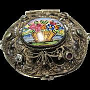 antique silver filigree polychrome enamel trinket pill rosary Box