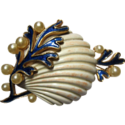 rare Crown Trifari Under the Sea Seashell enamel Brooch Pin Alfred Philippe