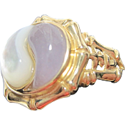 vintage estate 14k Ying Yang Lavender Jadite Mother of Pearl Ring