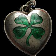 vintage Sterling Puffy Heart Charm Enamel Clover Shamrock