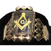 Large antique Victorian 14k Rose Gold Masonic Ring mason