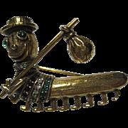 vintage JEANNE signed Rhinestone Centipede Hobo Brooch pin