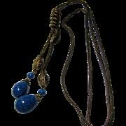 antique Nouveau Brass Glass Snake Heads Necklace Slide faux Lapis