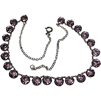 1930s Art Deco Sterling open back prong set Amethyst Crystal Necklace