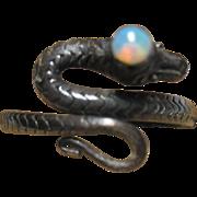 vintage Sterling 925 Snake & Opal Ring