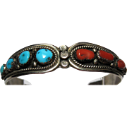 excellent Native American Indian Sterling cuff Bracelet CY for Chris Yazzie Turquoise and Coral