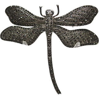 large vintage Sterling 925 Marcasite Dragonfly movable Wings