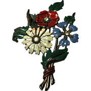 rare 1940s vintage enamel Perfume bottle Brooch pin Flower Bouquet