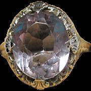 antique Edwardian 14k white gold Filigree Ring Amethyst stone