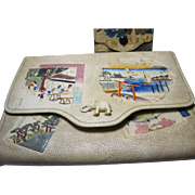1920s Japanese embossed painted tooled leather Clutch purse bag w/ coin purse