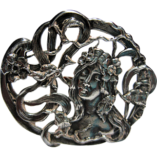 antique Hallmarked Sterling Nouveau Lady Button