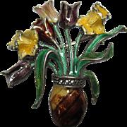 vintage Austrian 835 Silver Enamel Marcasite Flower Basket Brooch pin