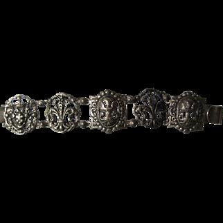 vintage Gothic Revival Sterling Gargoyle panel Bracelet
