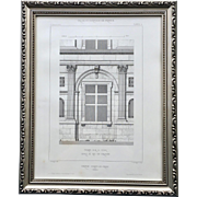 19th Century Framed French Architectural Engraving of Chateau D'Ancy by Claude Sauvageot