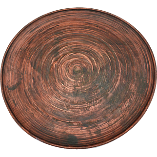 "Japanese Mengei Folk Wooden Plate 11.5"" diameter"