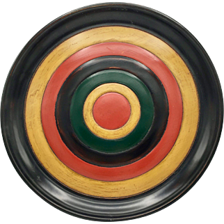 "Traditional Japanese Shikki Lacquerware Large Plate Multicolor 15"" diameter"