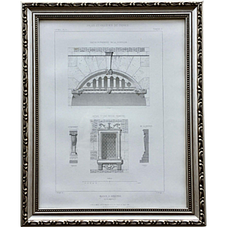 19th Century Claude Sauvageot Framed French Architectural Engraving Maison Orleans