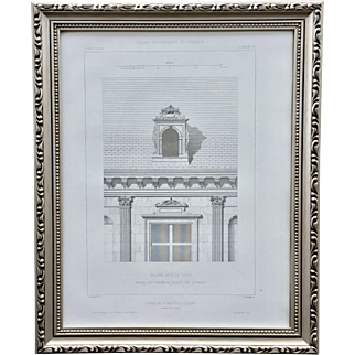 19th Century Claude Sauvageot Framed French Architectural Engraving Facade of Chateau D'Ancy