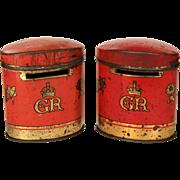 Two Oxo Souvenir Money Box Tin for George VI & Elizabeth Coronation 1937