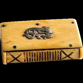 Bone Vesta Case or Match Holder from the 1800's