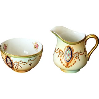 CROWN DEVON Cream Jug and Sugar Bowl from the 1910's