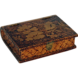 Pokerwork (Pyrography) Wooden Box  - Book Shaped c1910 French