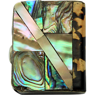 Mother of Pearl Vesta Case - Silver Plate c1885
