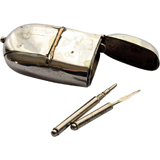 Silver Plated Combination Vesta Case with Tooth Pick, Pencil, Sovereign Holder and Stamp Holder