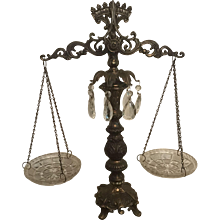 Vintage Bronze Scales of Justice with Cut Glass Cups and Cut Glass Decorative Pendants