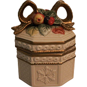 Gilded Fitz and Floyd Porcelain Snowy Woods Trinket or Jewelry Box