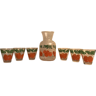Decorated Glass Orange Juice Carafe with 6 Matching OJ Glasses