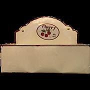 Vintage Cherry Big Red Enamel Mail Holder Wall Hanging