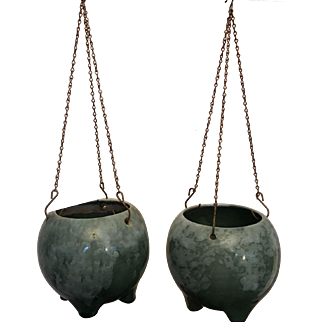 Set of Two Green Ceramic Hanging Planters (Also Footed) With Chains